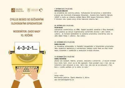 4-3-2-1… Cyklus besied so súčasnými slovenskými spisovateľmi