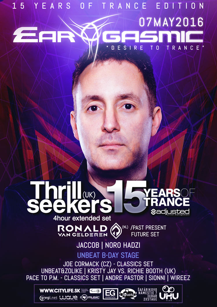 "Ear-Gasmic ""15 YEARS OF TRANCE"" prináša britskú legendu THE THRILLSEEKERS"