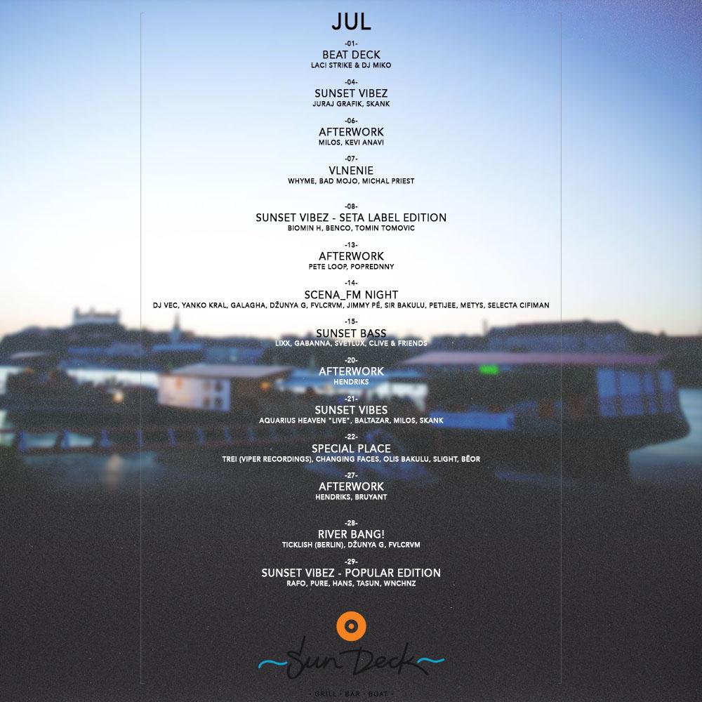 Silný hudobný júl na Sun Decku
